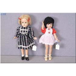 "Two vintage composition dolls including 14"" composition doll with painted features, mohair wig, head"