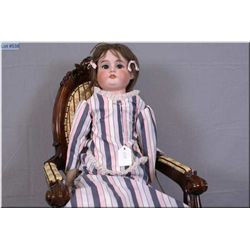 "26"" Armand Marseille 370 bisque head doll with sleep eyes, open mouth on kid leather body. Good bisq"