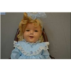 "27"" flirty eyed Shirley Temple composition doll, has been repainted and eyes cloudy"