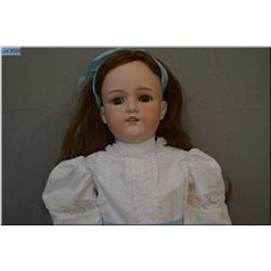 "29"" Armand Marseille 390 bisque head doll on composition body with sleep eyes, note missing one lash"