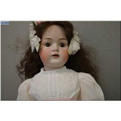 "30"" Kestner 214 bisque head doll on composition body with sleep eyes, open mouth, good bisque, no cr"