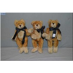 "Three Boyd's Bears mohair cats each 11"" in height"