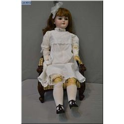 "Large 33"" Simon Halbig 1079 bisque head doll with sleep eyes, open mouth on composition body. Good b"