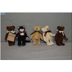 "Five 5"" Boyds Collections jointed animals, perfect for doll display"