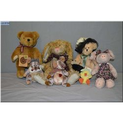 A selection of Boyds and Ganz collectible plush toys including bears, rabbit, pig, mice and duck