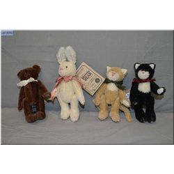 "Four 5"" Boyds Collections jointed animals, perfect for doll display"