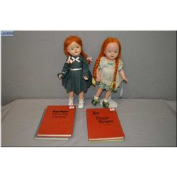 "Two Reliable Maggie Muggins 15"" composition dolls circa 1947 and four Maggie Muggins hard cover stor"