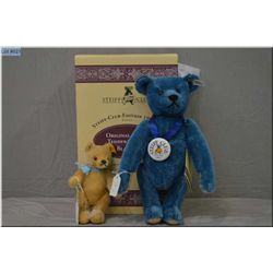 "A boxed Steiff Club 1994 blue 12"" jointed bear and a 6"" jointed Steiff bear"