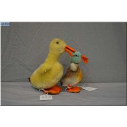 "Two small vintage Steiff animals including 4 1/2"" duck and 6"" duckling"