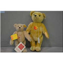 "Two Steiff bears including golden 13"" jointed bear and a 9"" blonde jointed bear"