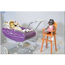 "Wooden doll highchair and Gendron metal doll carriage plus a vintage 11"" composition Topsy doll and"