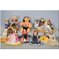 Selection of vintage dolls including small Chad Valley, travel dolls, celluloid and hand painted dol