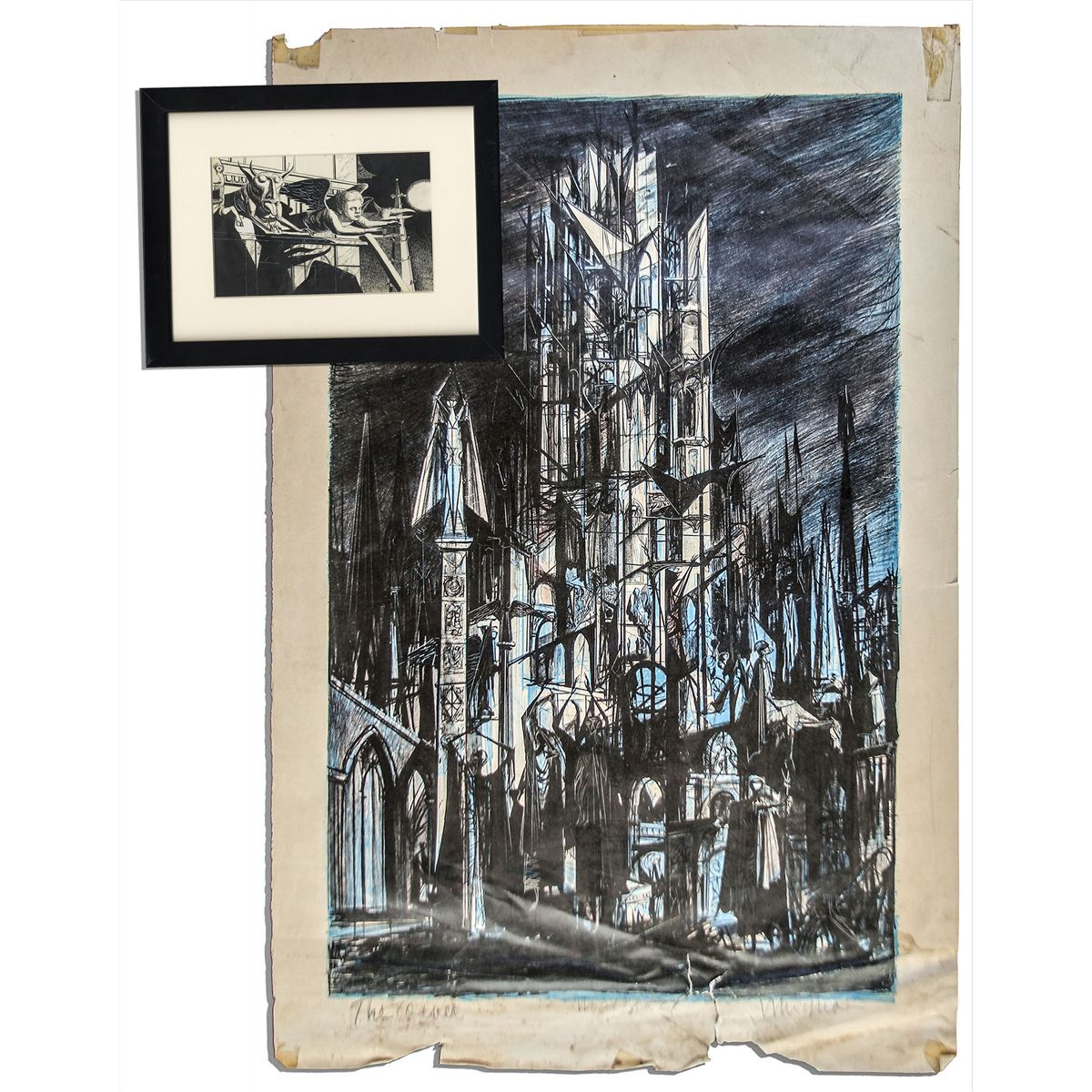 ray bradbury personally owned mugnaini signed ink drawing from ''the