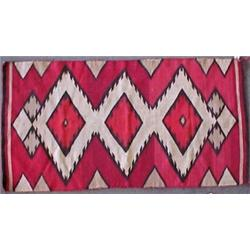 Navajo Rug With Striped Border On Short Ends Only Red Dark Brown