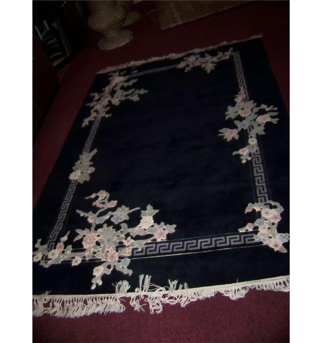 Stylish Black White Woven Large Area Rug With Floral