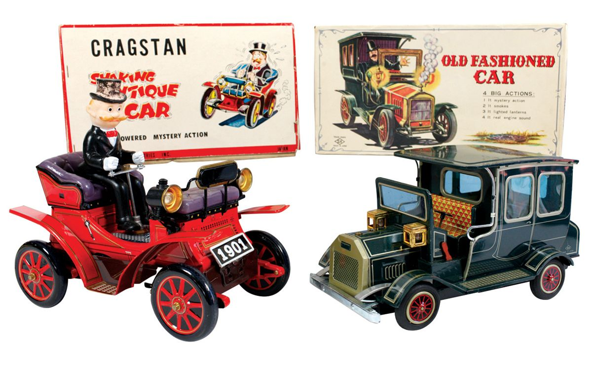 Toy cars (2), litho on tin battery-operated Cragstan \