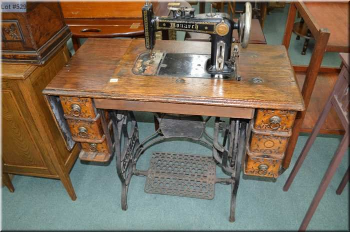 Monarch Treadle Sewing Machine In Oak Cabinet Magnificent Trundle Sewing Machine