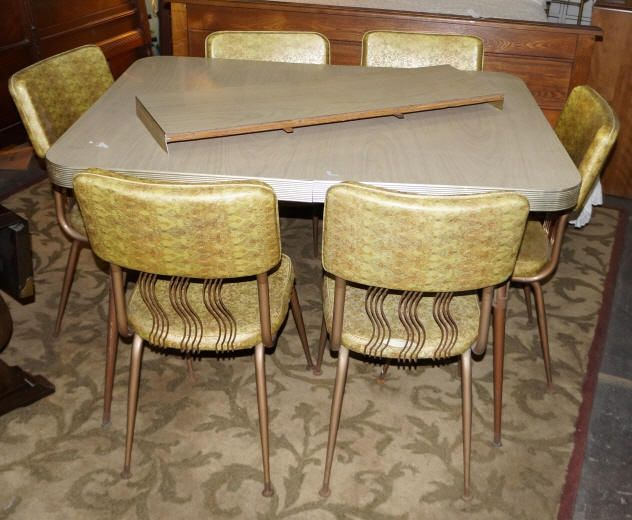 vintage formica table 4 chairs around 1960 s gold tone vinyl