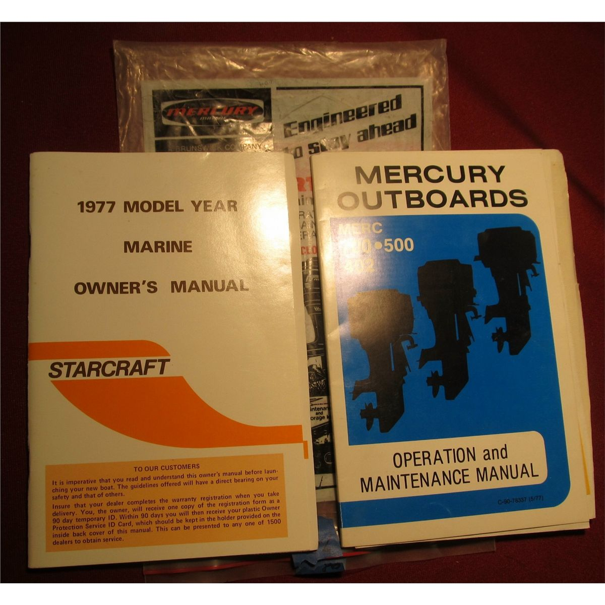 """1977 Model Year Marine Owner's Manual Starcraft"" & ""Mercury Outboards Merc  700 * 500 * 402 Oper"