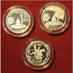 677. 2004 S Washington D.C.; 1999 S Delaware; & 2008 Fifty First State Proof Quarters. All Proof. Al