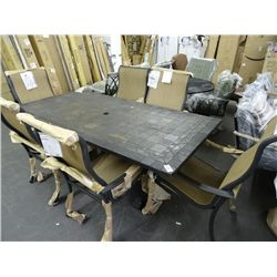 Heavy Tile Top Patio Table & 6 Armchairs