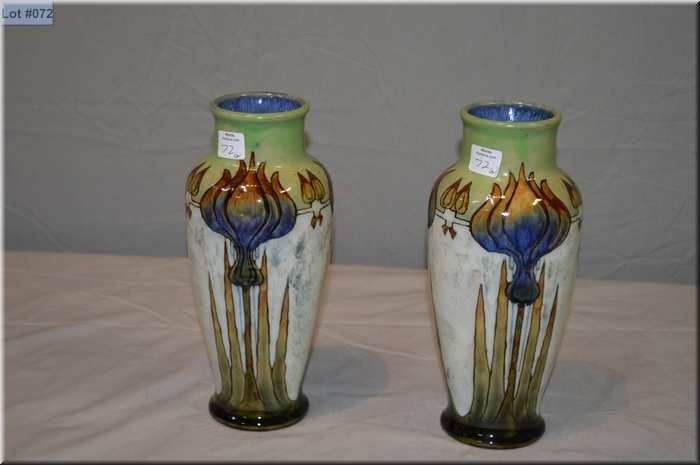 Pair Of Antique Royal Doulton Matching Vases 10h