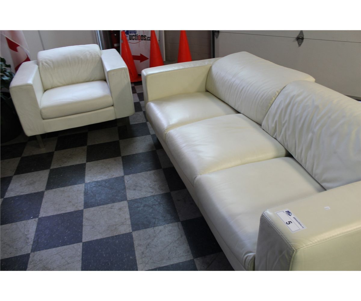 Decoro Tan Leather 3 Seat Sofa And Matching Arm Chair