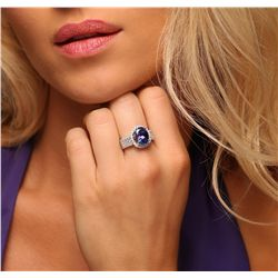 14KT Two-Tone Gold 4.24ct Tanzanite and Diamond Ring