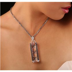 14KT White Gold 155.79ct Kunzite and Diamond Pendant With Chain