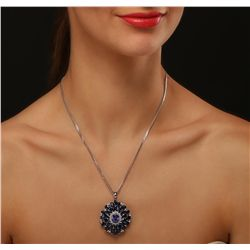 14KT White Gold 2.71ct Tanzanite, Sapphire and Diamond Pendant With Chain