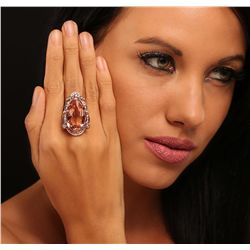 14KT Rose Gold 20.04ct GIA Certified Morganite and Diamond Ring