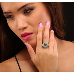 14KT White Gold 3.66ct Emerald and Diamond Ring