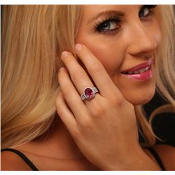 14KT Two-Tone Gold 3.46ct Rubelite and Diamond Ring