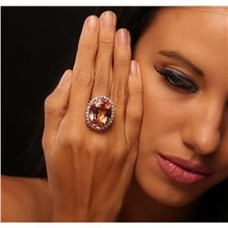 14KT Rose Gold 26.36ct GIA Certified Morganite and Diamond Ring