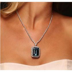 14KT White Gold 47.59ct Blue Topaz and Diamond Necklace