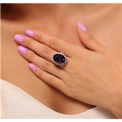 14KT White Gold 12.96ct Amethyst and Diamond Ring