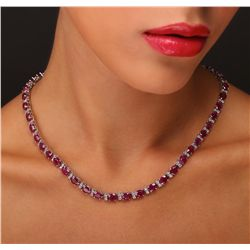 14KT White Gold 46.06ctw Ruby and Diamond Necklace