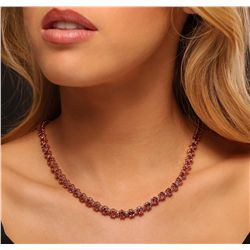 14KT Rose Gold 38.40ctw Tourmaline and Diamond Necklace