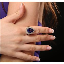 14KT Yellow Gold 8.86ct GIA Certified Tanzanite and Diamond Ring