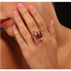 14KT Rose Gold GIA Certified 26.97ct Morganite and Diamond Ring