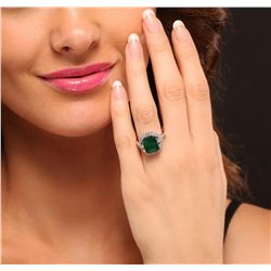 14KT White Gold 5.67ct Emerald and Diamond Ring