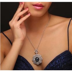14KT White Gold 24.20ct Blue Star Sapphire and Diamond Pendant with Chain