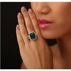 14KT White Gold 9.93ct Emerald and Diamond Ring