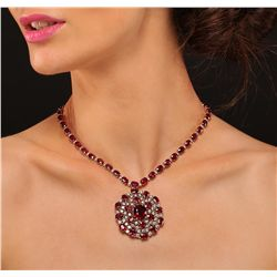 14KT Yellow Gold 71.33ctw Ruby Necklace