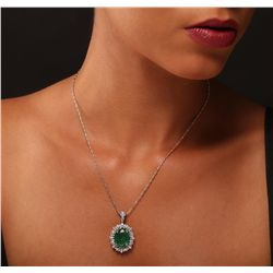 14KT White and Yellow Gold 8.95ct Emerald and Diamond Pendant