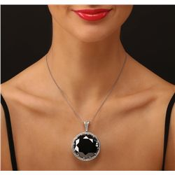 14KT White Gold 127.94ct Black and White Diamond Pendant With Chain