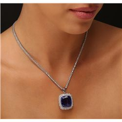 14KT White Gold GIA Certified 20.78ct Tanzanite and Diamond Pendant With Chain