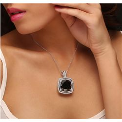 14KT White Gold 28.62ctw Black Diamond Pendant With Chain