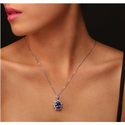 14KT White Gold 7.51ct Tanzanite and Diamond Pendant With Chain