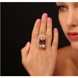 14KT Rose Gold GIA Certified 40.64ct Morganite and Diamond Ring